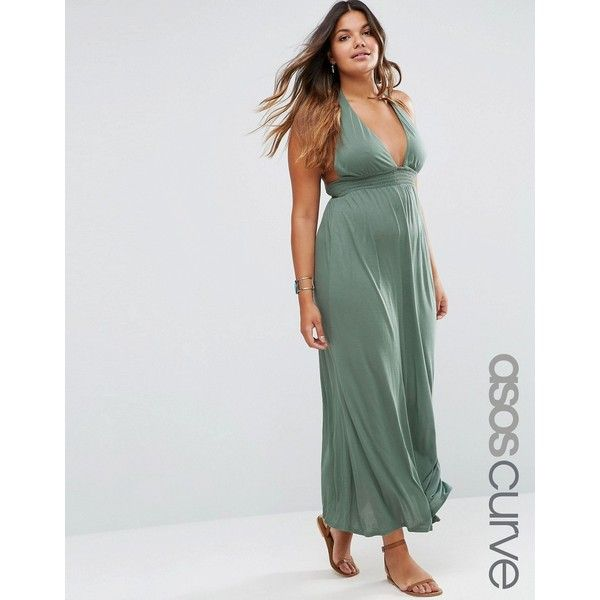 ASOS CURVE Jersey Ruched Halter Maxi Beach Dress ($27) ❤ liked on Polyvore featuring dresses, green, plus size, jersey dress, loose maxi dress, ruched maxi dress, loose dresses and plunging neckline dress