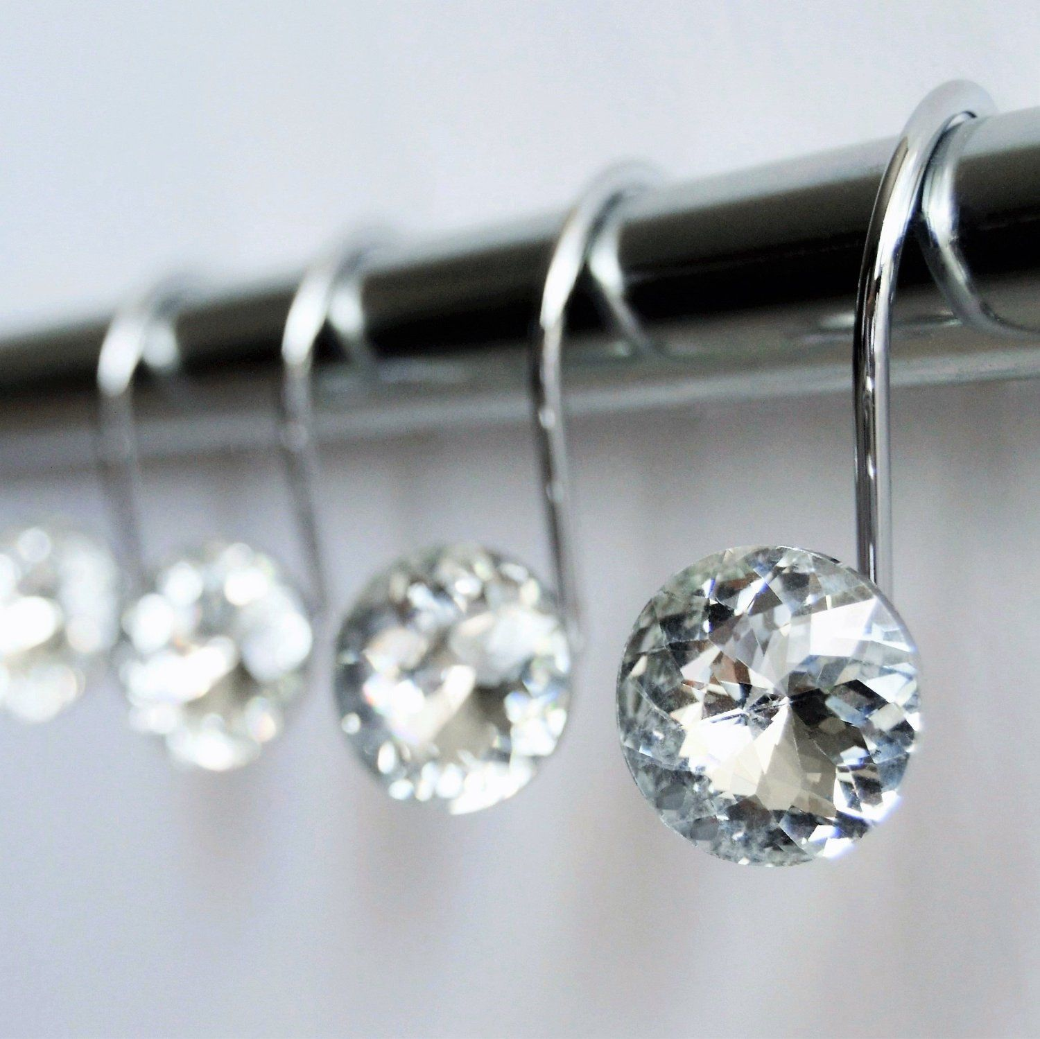 Chrome Shower Curtain Hooks With Clear Gem Crystal Rhinestone Jewel