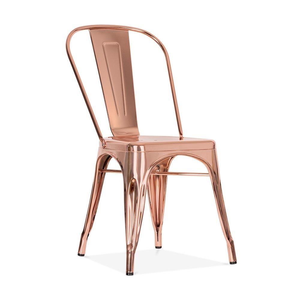 Xavier Pauchard Tolix Style Metal Side Chair - Rose Gold | Gold ... - Xavier Pauchard Tolix Style Metal Side Chair - Rose Gold