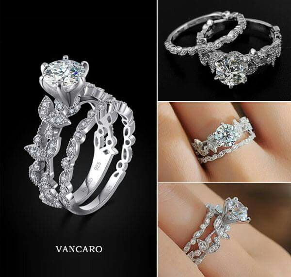 Vancaro Leaf Design 925 Sterling Silver White Gold Plated Ring Set It S Like My Dream Come To Life Bridal Rings Beautiful Wedding Rings Wedding Rings