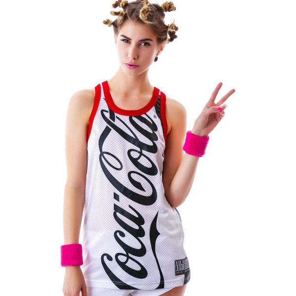 Joyrich Coco-Cola Mesh Tank (105 AUD) ❤ liked on Polyvore featuring tops and joyrich