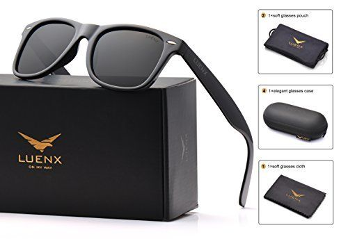 a6dd7c8003 Mens Wayfarer Sunglasses Polarized Womens  UV 400 Protection Glossy Frame  54MM by LUENX with Case
