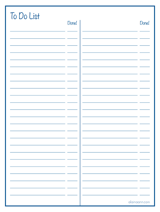 image about Lined Paper With Columns Printable known as Covered 2 Column In the direction of Do Listing :: Ready Household :: Alaina Ann