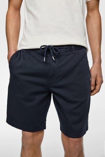 ZARA Male Drawstring shorts Navy blue Xl | Snake