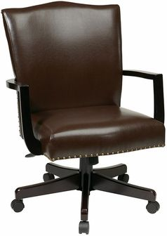 Office Star Morgan Managers Chair With Thick Padded Bonded Leather Seat And Back Steel Reinforced Wood Base Dual Wheel Carpet Casters