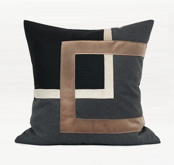 Black Gray Embroidered Square Pillows Modern Throw Pillow Sofa