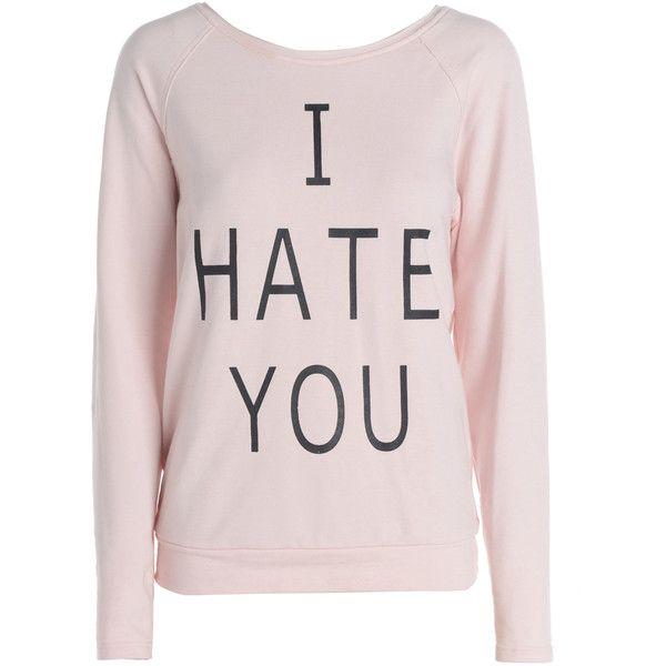 AX Paris I Hate You Sweat Top ($23) ❤ liked on Polyvore