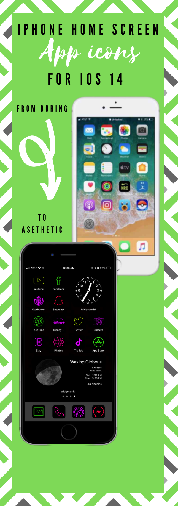 Neon app icons aesthetic to customize home screen!