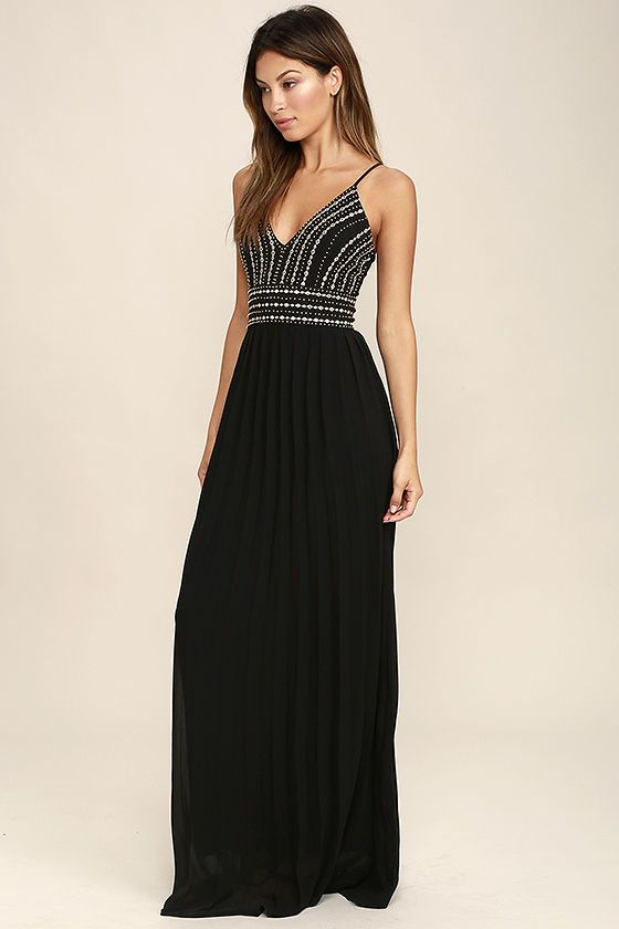 7930eb7778 Make reservations for you and your beau, and enjoy a night out in the  Glamorous Gala Black Embroidered Maxi Dress! Lightly textured woven fabric  is formed ...
