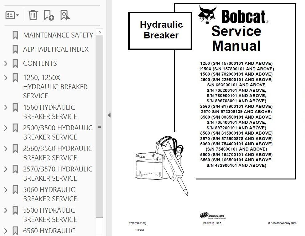 Bobcat Hydraulic Breaker 1250, 1250x, 1560, 2500, 2560, 2570, Service  Repair Manual | Hydraulic breaker, Repair manuals, Breakers | Hydraulic Breaker Schematic |  | Pinterest