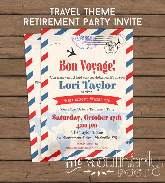 Travel Theme Retirement Party Invitation Bon by SoutherlyPost - farewell invitation template