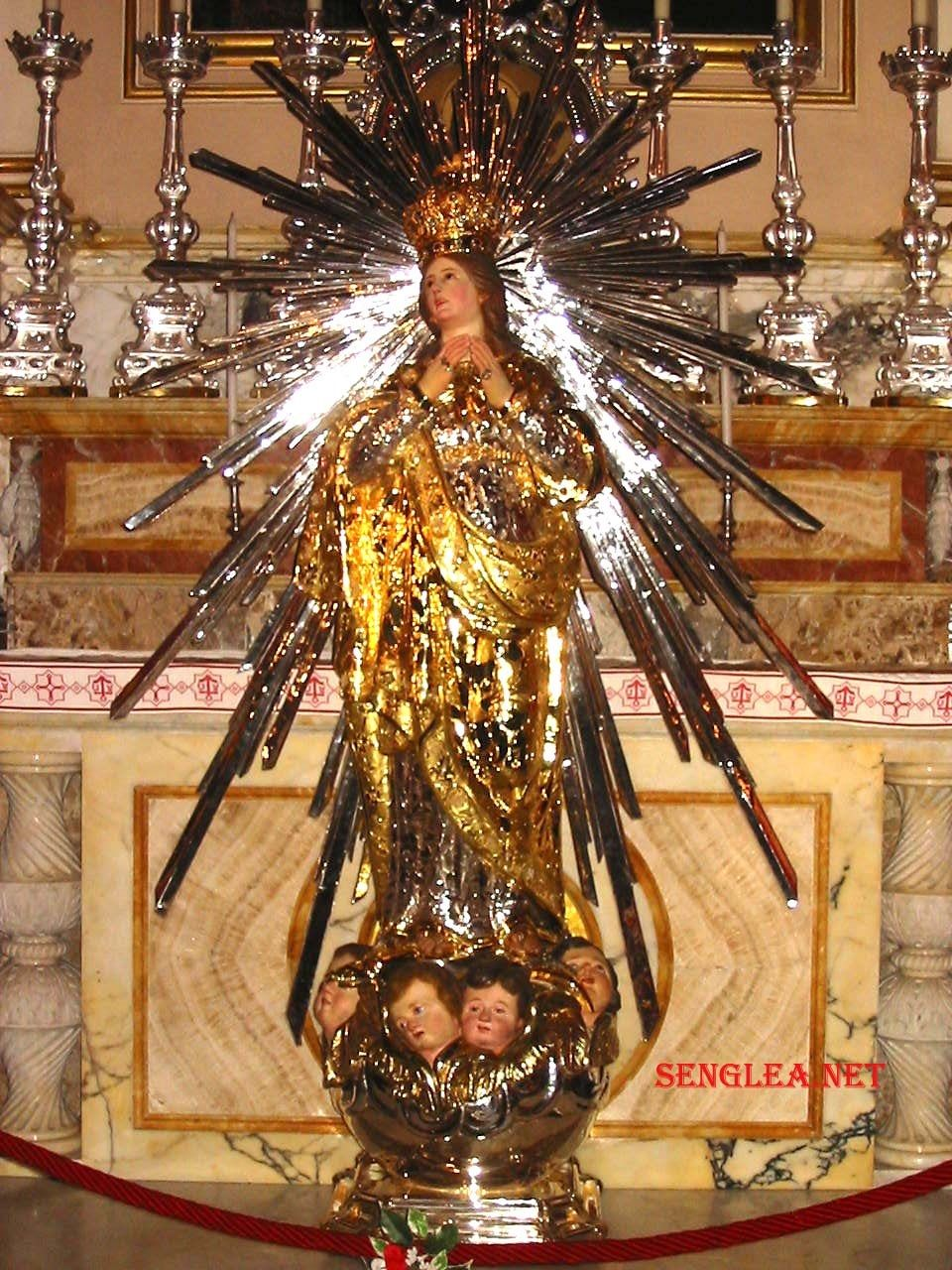 The Statue of Our Lady of Victories venerated at the Sanctuary Basilica of Our Lady's Nativity in Senglea, Malta where it has reputed to have been located since 1618 after it had been found floating amongst other wreckage and picked up in the Adriatic Sea.