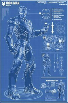 Iron man blueprints iron man pinterest tony stark for Plan d iron man