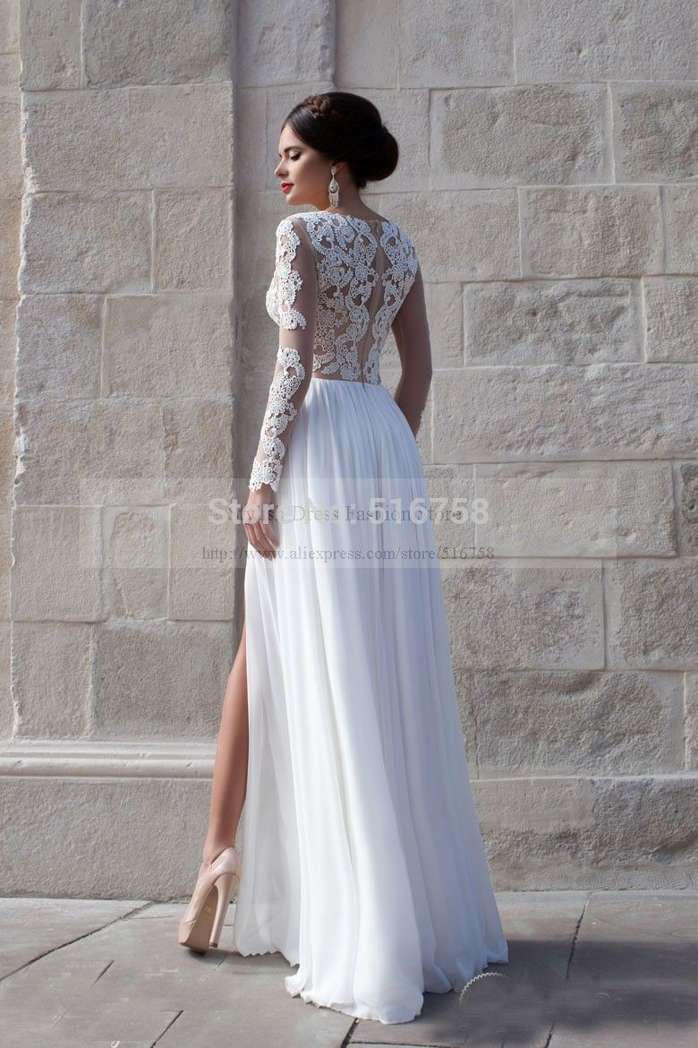 Charming Ideas Long Sleeve Low Back Wedding Dress 60 Perfect Low ...