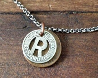 Rockford Illinois Bus or Transit Token Lucky Wheat Penny Sterling Silver Necklace