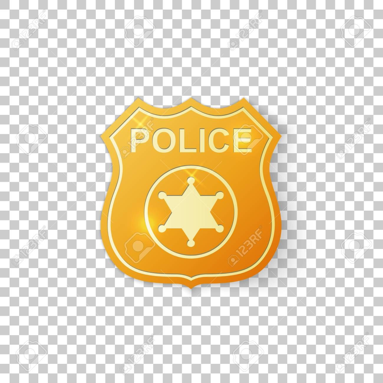 Realistic Golden Police Badge Isolated Object On Transparent Background Sheriff Badge Symbol Vector Illustration Sheriff Badge Beauty Website Police Badge