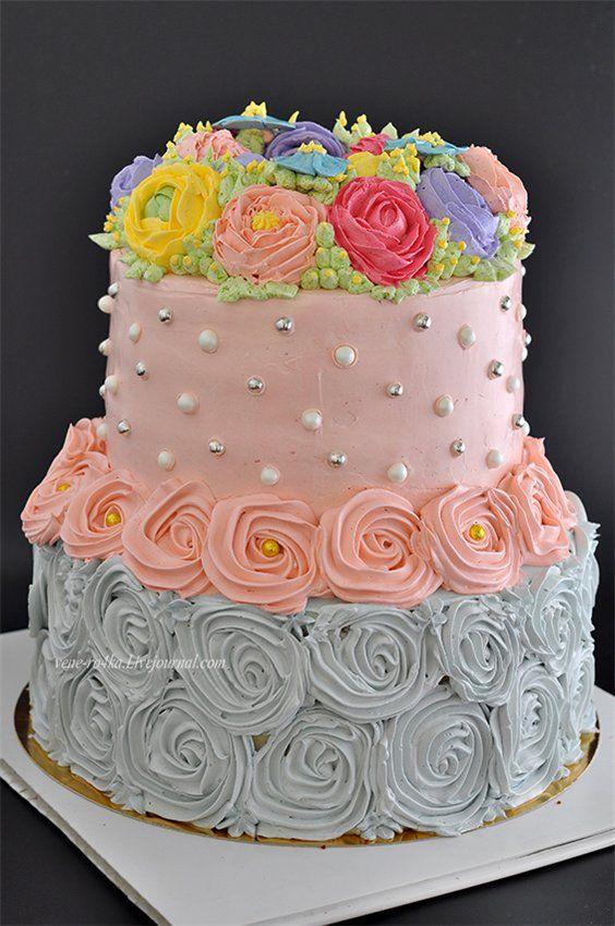 Двухъярусный торт на Юбилей моей мамы! | Торт, Десерты и ...