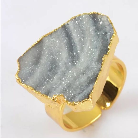 Gray Galaxy Quartz Druzy Natural Stone Ring Gray Galaxy Quartz Druzy Natural Stone Ring. Size is 7 and adjustable. Hello Supply Jewelry Rings