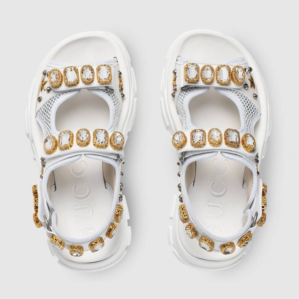 Shop The Leather And Mesh Sandal With Crystals In White Leather At Gucci Com Enjoy Free Shipping And Com Casual Shoes Women Womens Sandals Womens Shoes Wedges