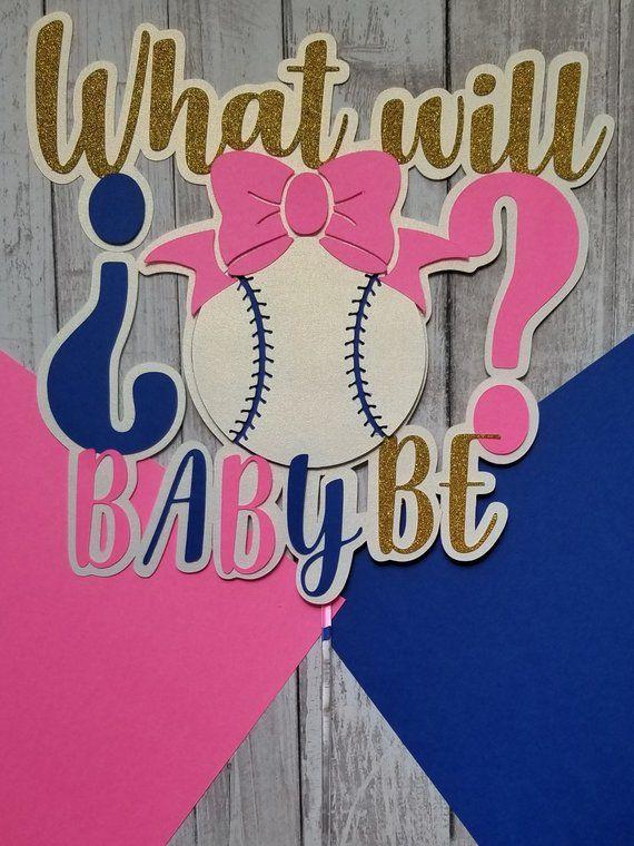 Baseball Or Bows Cake Topper Cake Topper What Will Baby Be Gender Reveal Basebal Baby Gender Reveal Party Gender Reveal Themes Gender Reveal Baby Shower Themes