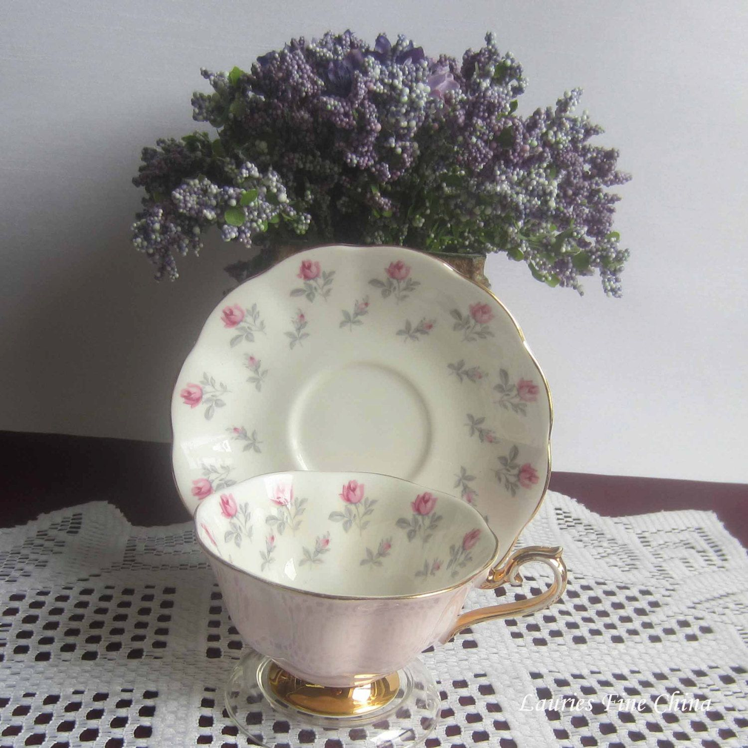 Free Shipping Royal Albert Un Named Pink Outer with Pink Rose buds inside - Bone China Tea Cup and Saucer by LauriesFineChina on Etsy