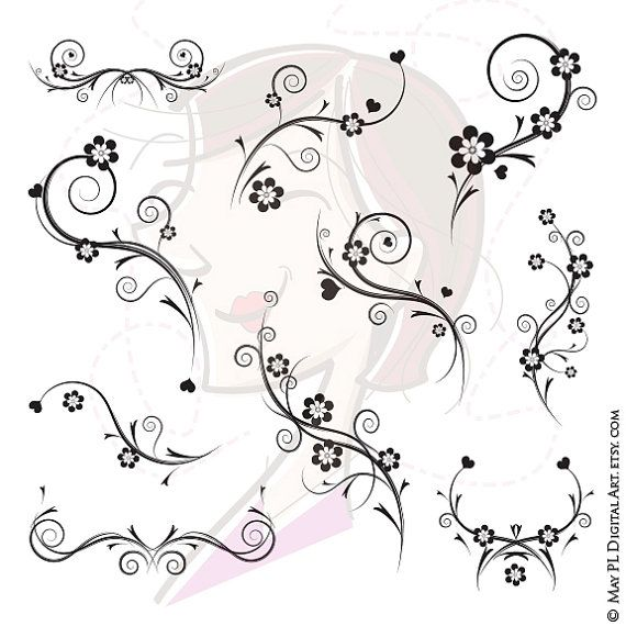 Digital Flourishes Png Clipart Also Supplied As Vector Files Etsy Scrapbook Flowers Art Clipart Flower Clipart