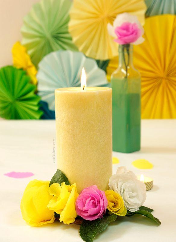 DIY: candle decorated with rose paper flowers ~ اصنعها بنفسك: شمعة مزينة بورود الروز الورقية