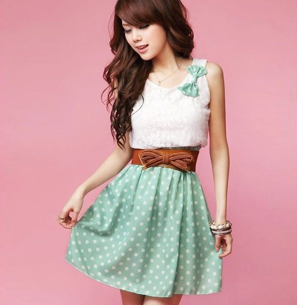b667114a0f4 Polka Dot Mini Dress With Belt