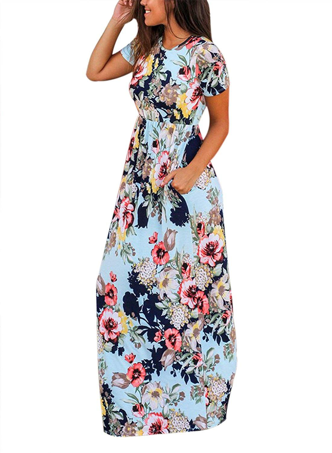 b0e6af093 HOTAPEI Womens Floral Print Long Dress Short Sleeve Empire Flower Maxi  Dresses at Amazon Womens Clothing store, Amazon Affiliate link.
