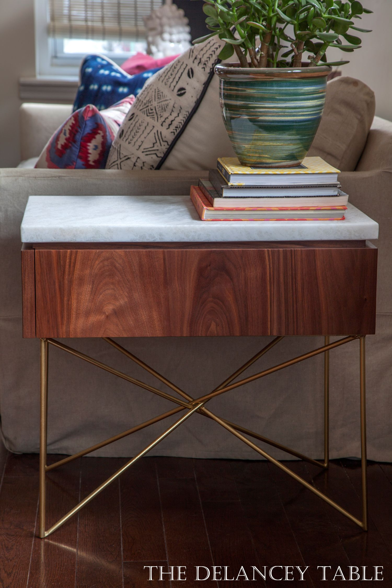 Delancey End Table side walnut brass marble nightstand