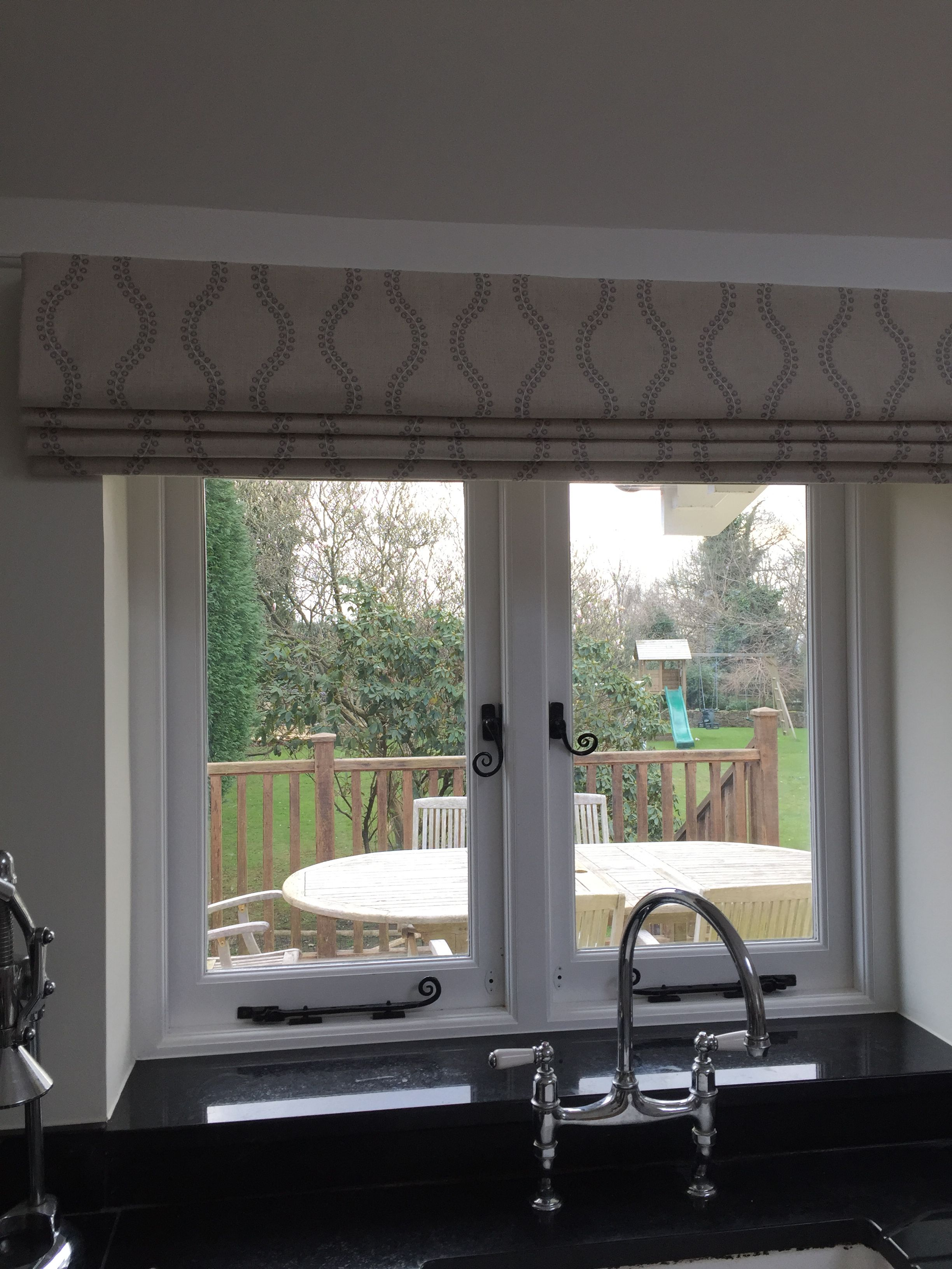 Roman Blind Above A Sink Area In A Kitchen Handmade By Louise Cowan Interiors Blinds Farm Style Kitchen Kitchen Blinds Above Sink