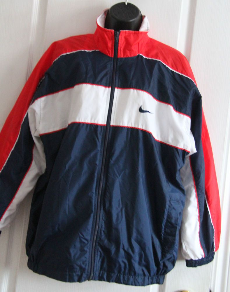 Vintage Mens S Boys 18 20 Nike Swoosh Track Windbreaker Jacket Nylon Full  zip ca68f9f88
