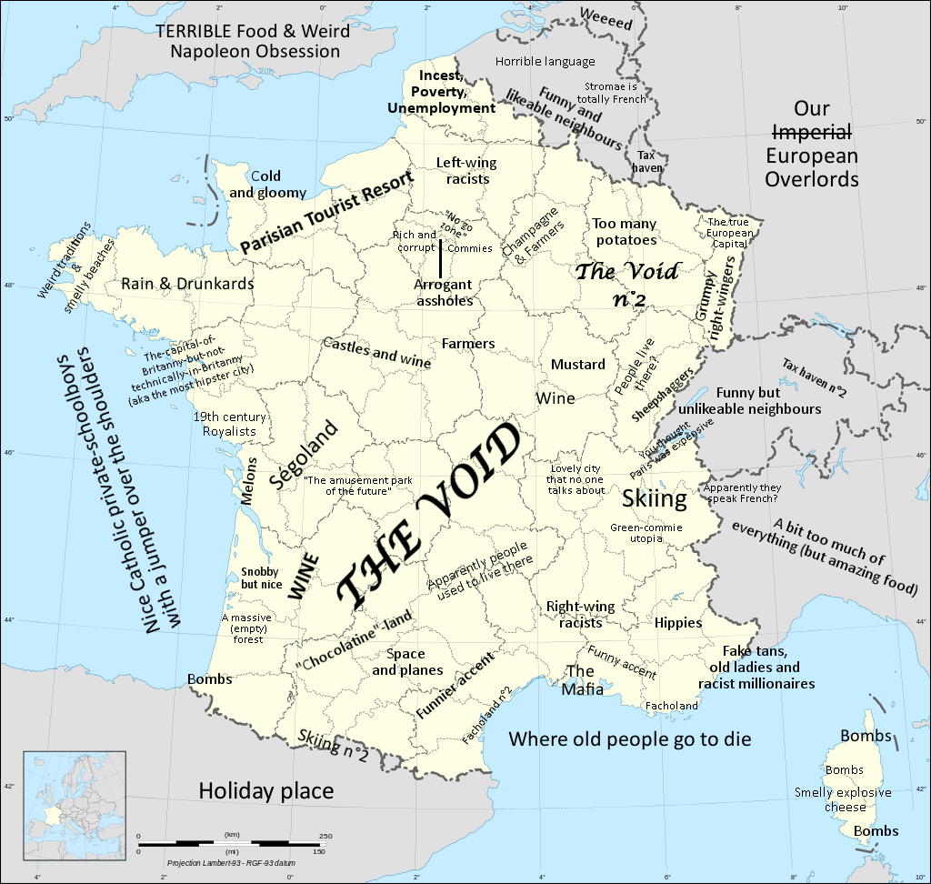 France Stereotype Map Vivid Maps Map Amazing Maps France