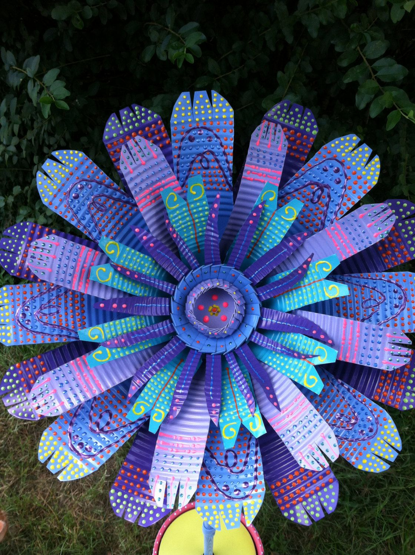 large purple & blue handmade tin can flower garden decor | garden