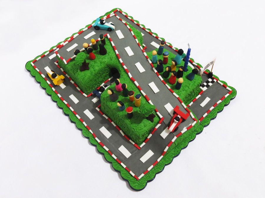 7th Birthday Race Track Cake by MidnightSnacks CakesDecorcom
