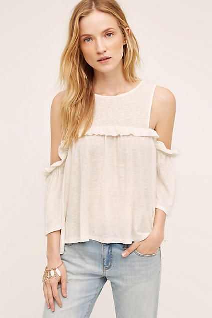 a668d329a7588 ShopStyle Collective Ruffled Open-Shoulder Top