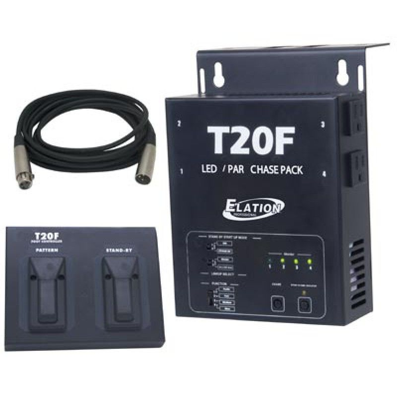 ADJ T20F LED/Halogen Par Chase Pack - Chase Controller + Foot Switch + DMX Cable