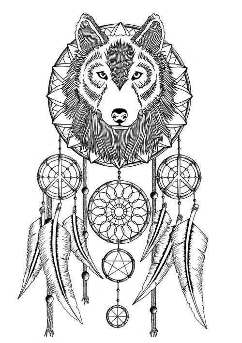 Wolf Dream Catcher Tattoo On Ribs