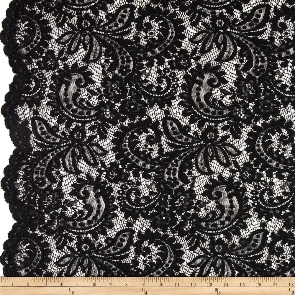 amelia stretch lace black from fabricdotcom this beautiful lace fabric is perfect for tops - Halloween Lace Fabric