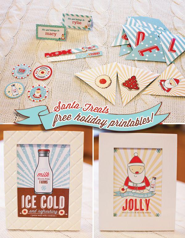 Santa Cookies Milk Themed Printables Holiday Printables Cookies Theme Christmas Printables
