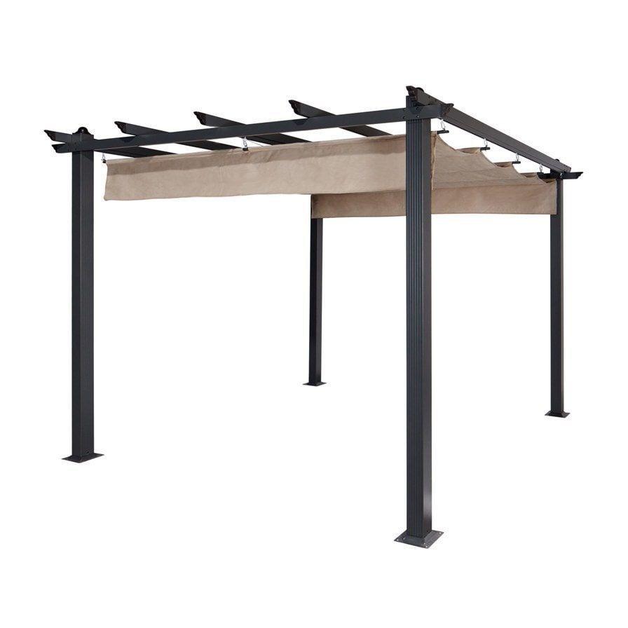 Aleko Aluminum (Silver) 10\' x 10\' Outdoor Canopy Trellis Pergola ...