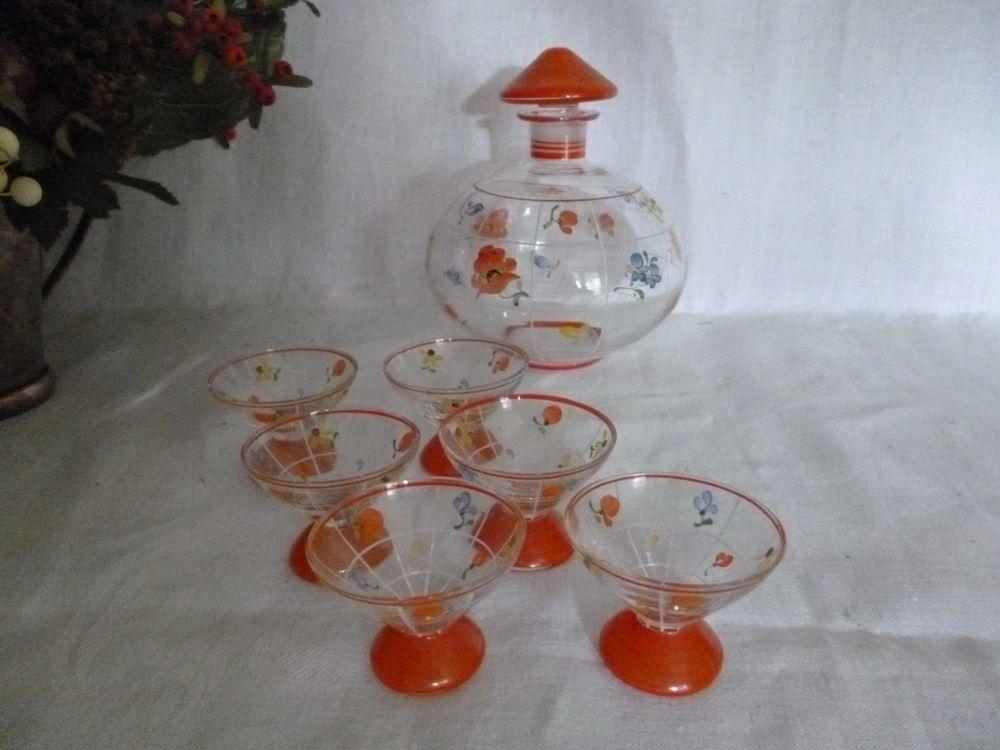 Likörkaraffe + 6 Likör Gläser 30er Jahre handbemalt Linien Blumen orange-rot top