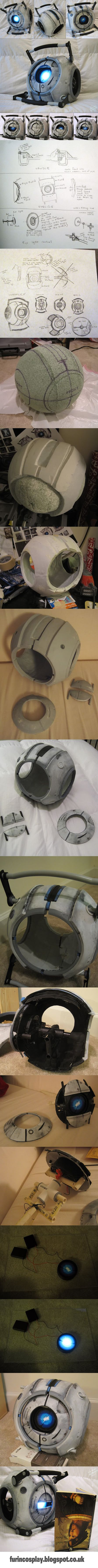 Wheatley from the video game Portal. Creative geek. Found at; http://furincosplay.blogspot.co.uk/2011/07/wheatley.html Image created for Pinterest by http://fps-x-games.com. #wheatley #portal #videogame