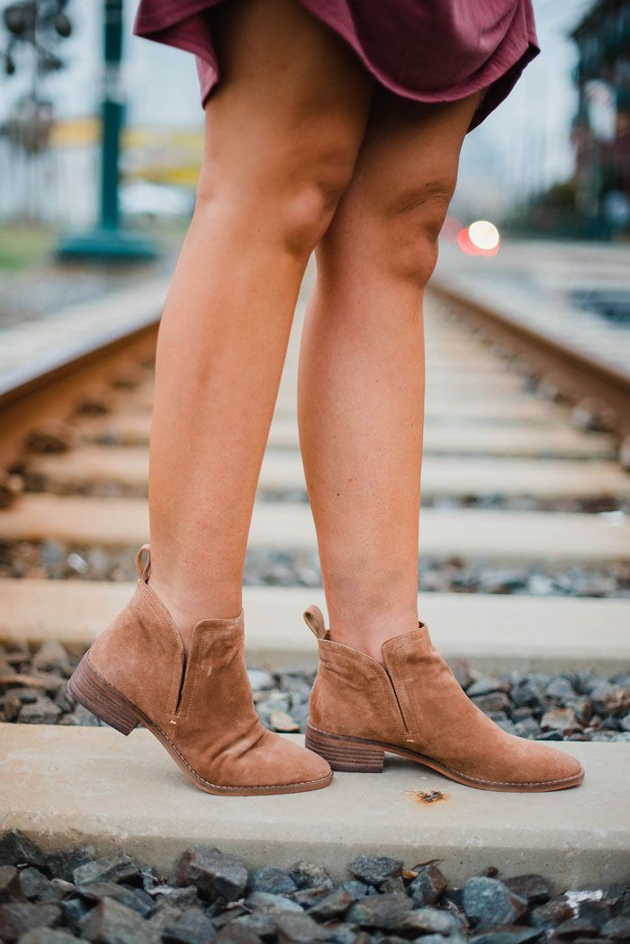 9dc63815781 Styling ankle booties, mid calf booties and over the knee boots and giving  tips on how to wear each! Tan suede ...