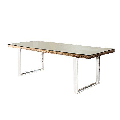 Massiver Esstisch BARRACUDA Antik Teak Holz Mit Stahl Kufenfüßen 200cm  Inkl. Glasplatte Holztisch Küchentisch | Esstisch Teak | Pinterest