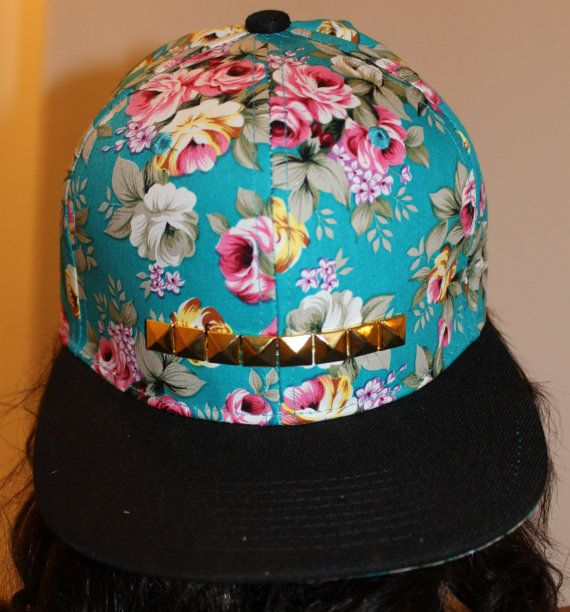 2942445e Turquoise Studded Floral Snapback. Turquoise Studded Floral Snapback  Fashion D, Flat Cap ...