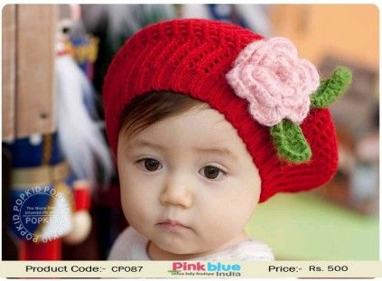 5b89c4d0225 Shop Online Red Crochet Cap with Pink Rose for Newborn Babies ...