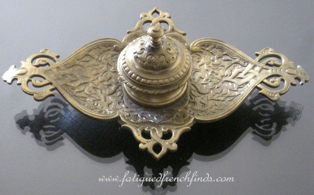 Antique French Japy Freres Bronze Inkwell www.fatiguedfrenchfinds.com