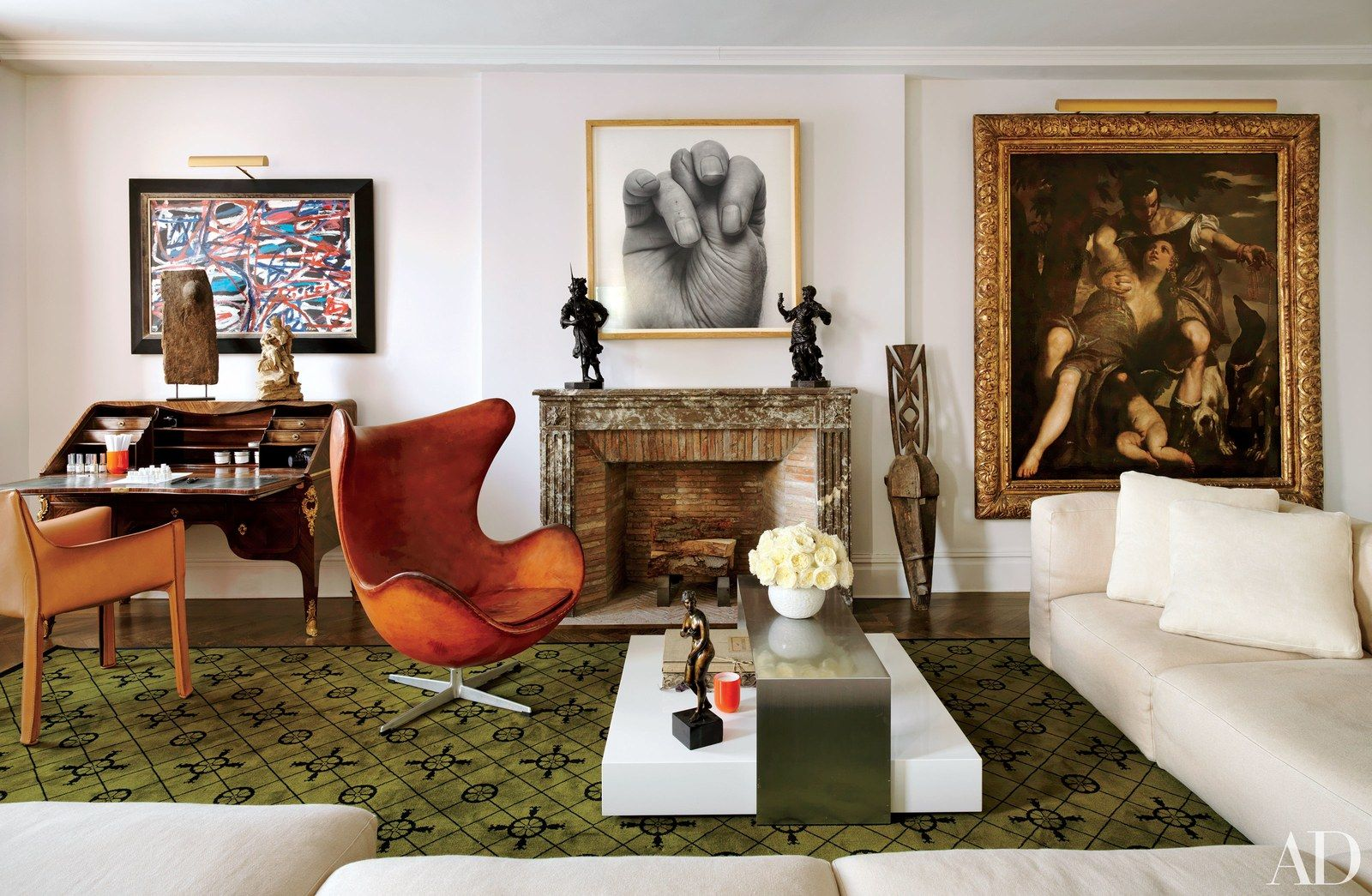 24 elegant artcentric rooms from the ad archives  living