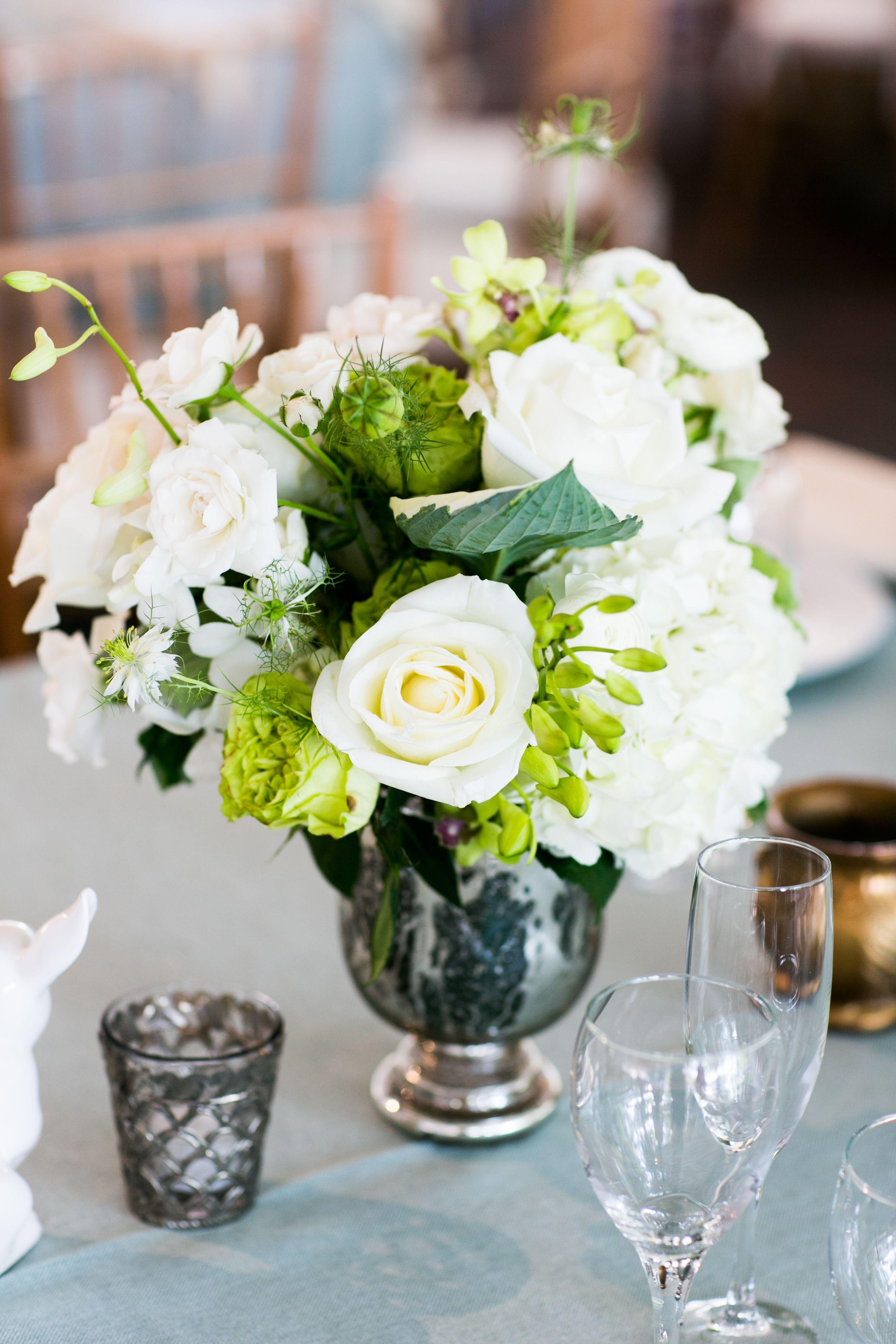 Classic White Rose Centerpiece In Mercury Glass Vase Wedding Flowers